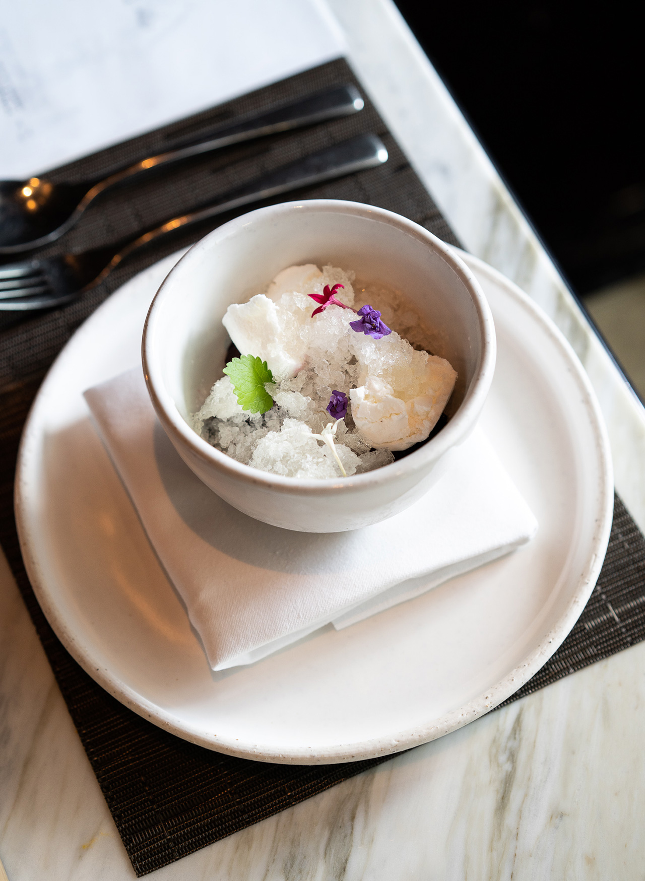 Elderflower with yogurt and summer fruit.