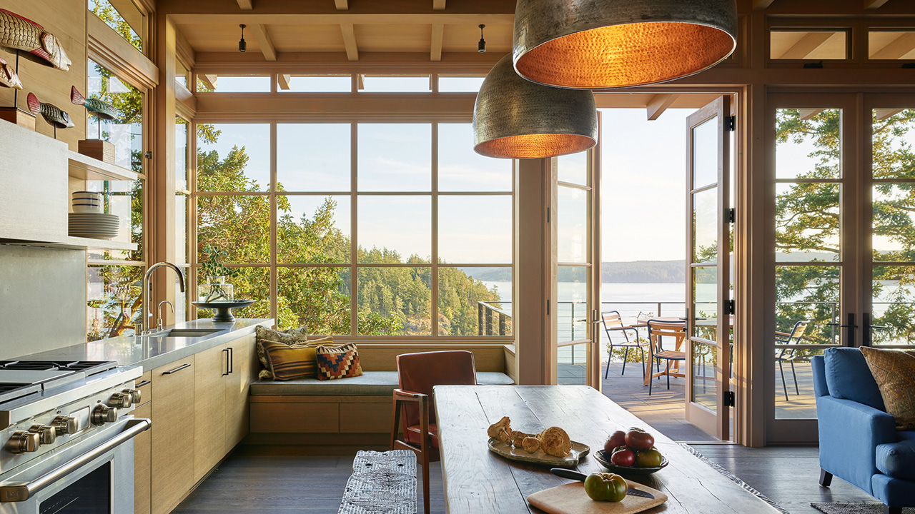Clerestory windows draw in light to the living space.