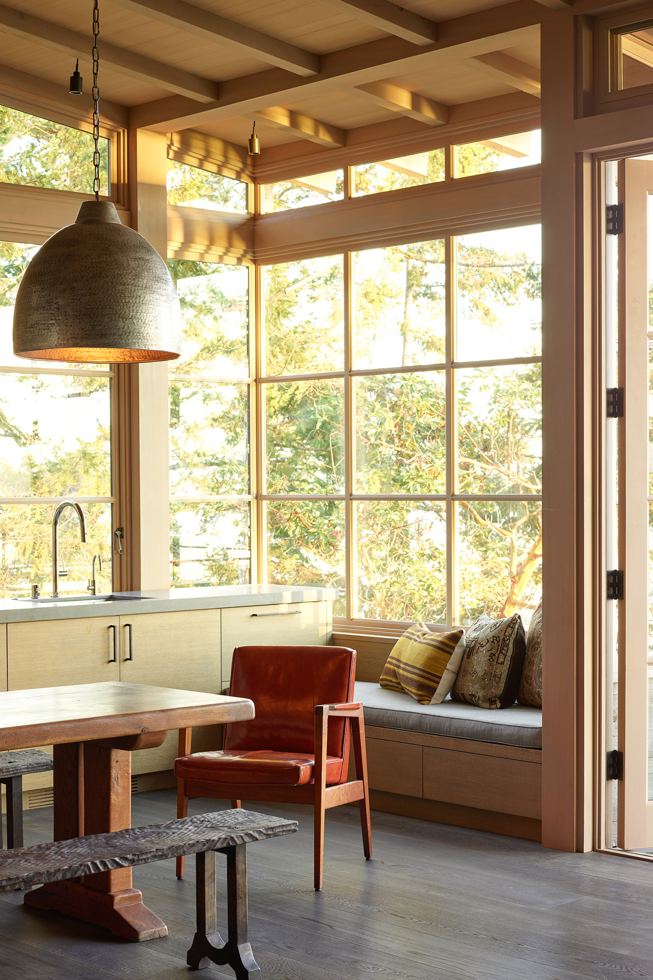 Perfect nook for reading and relaxing with a morning coffee.
