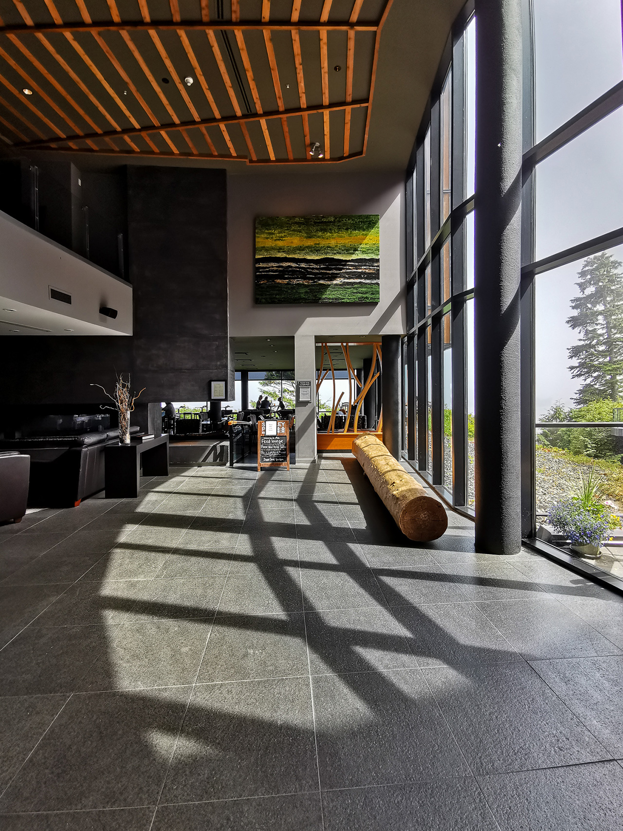 Contrasting shadows in the spacious double height lobby.