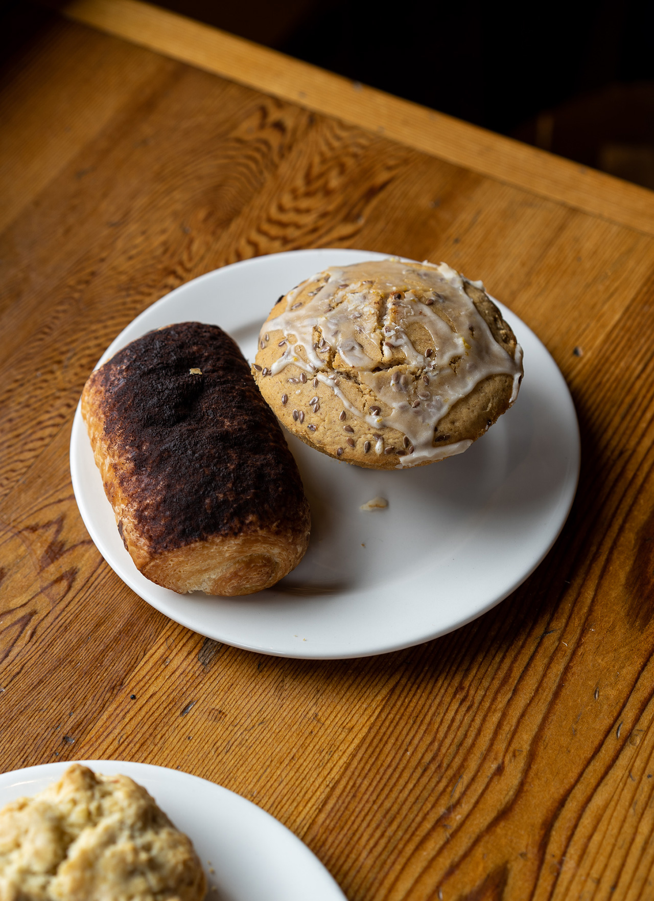 Chocolate croissant and earl grey vanilla muffin.