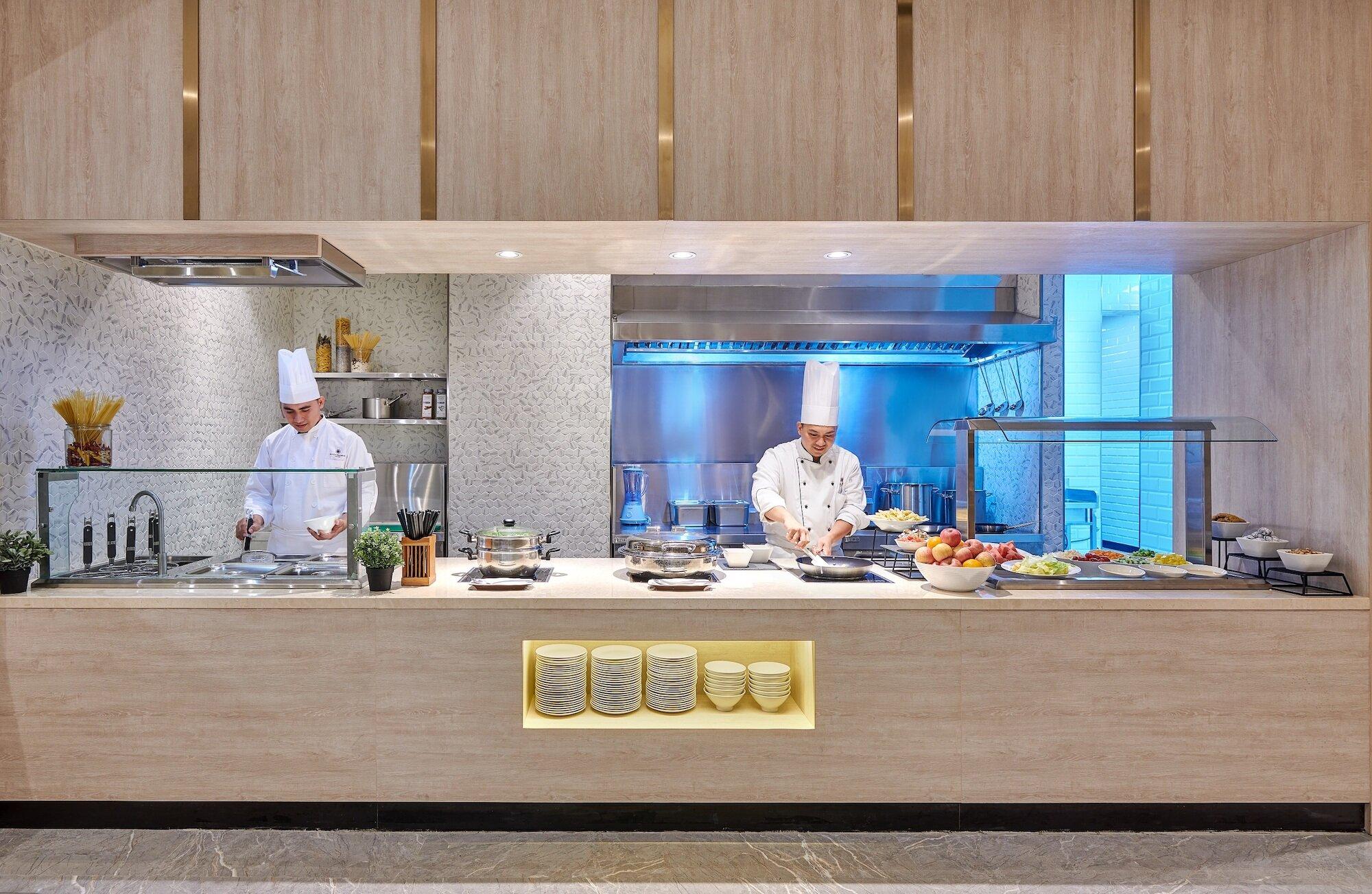 The kitchen at the Mactan Cebu Domestic Arrivals Plaza Premium Lounge.