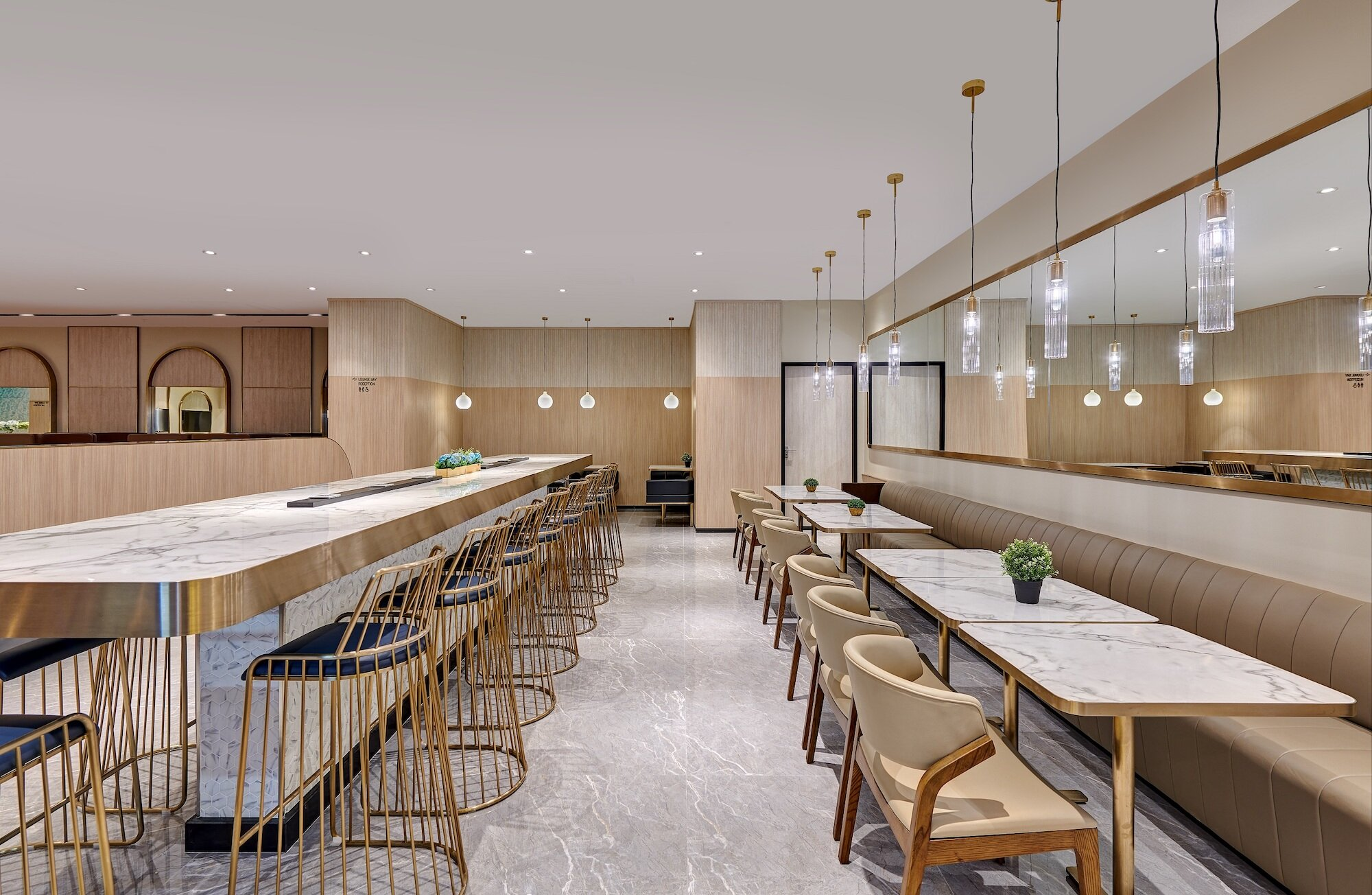 The dining area at the Mactan Cebu Domestic Arrivals Plaza Premium Lounge.