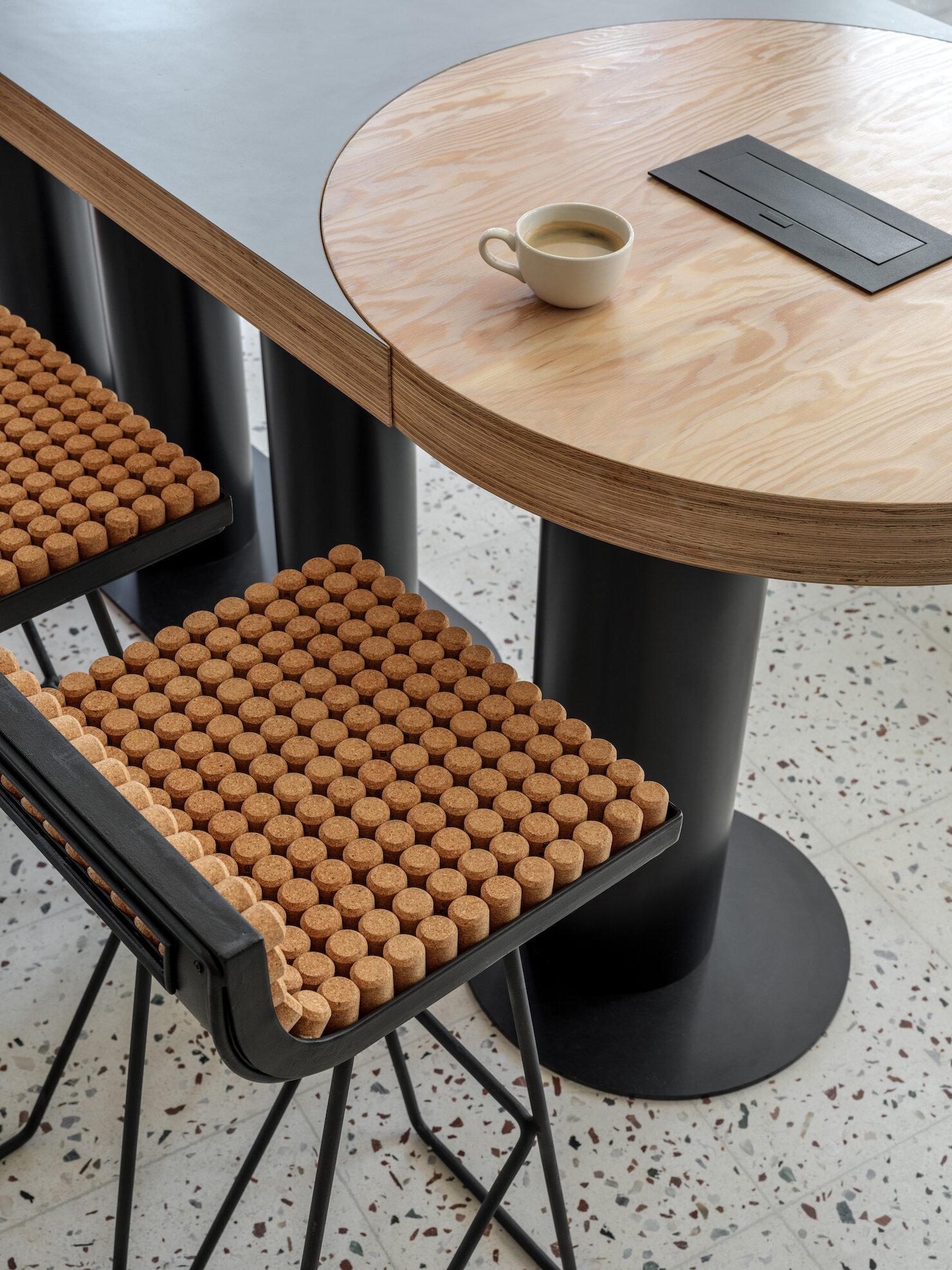 Unique, cork-covered seating design.