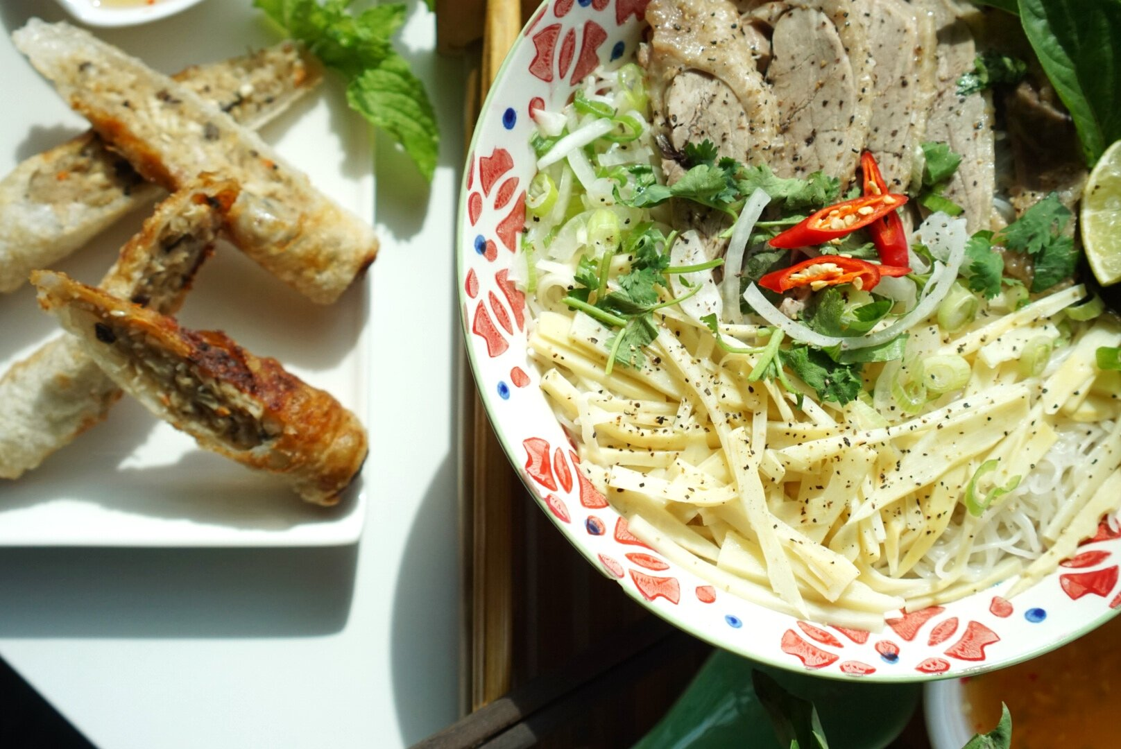 Hearty noodle soups and crispy spring rolls make for a satisfying meal.