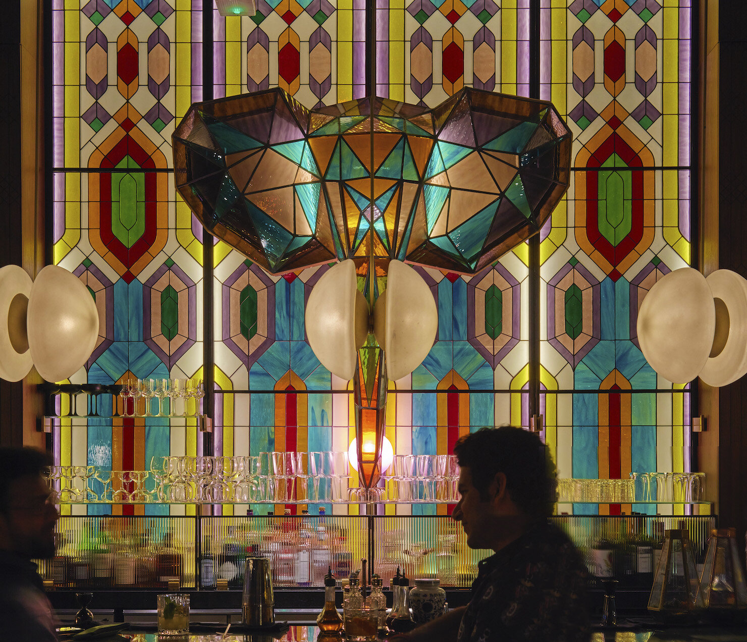 Design details of the stained-glass elephant bar.