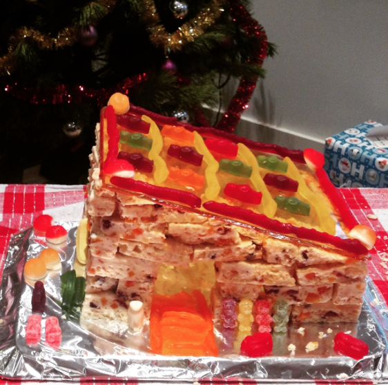 "Our Caramel Fudge and White Christmas ""Gingerbread House"" from 2 years ago.."