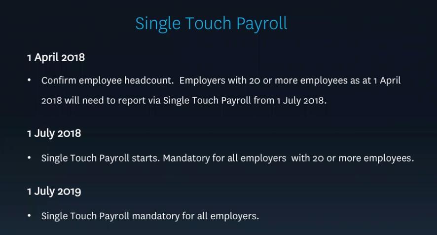 Source: Xero Dec Quarter 2017 Payroll Update webinar