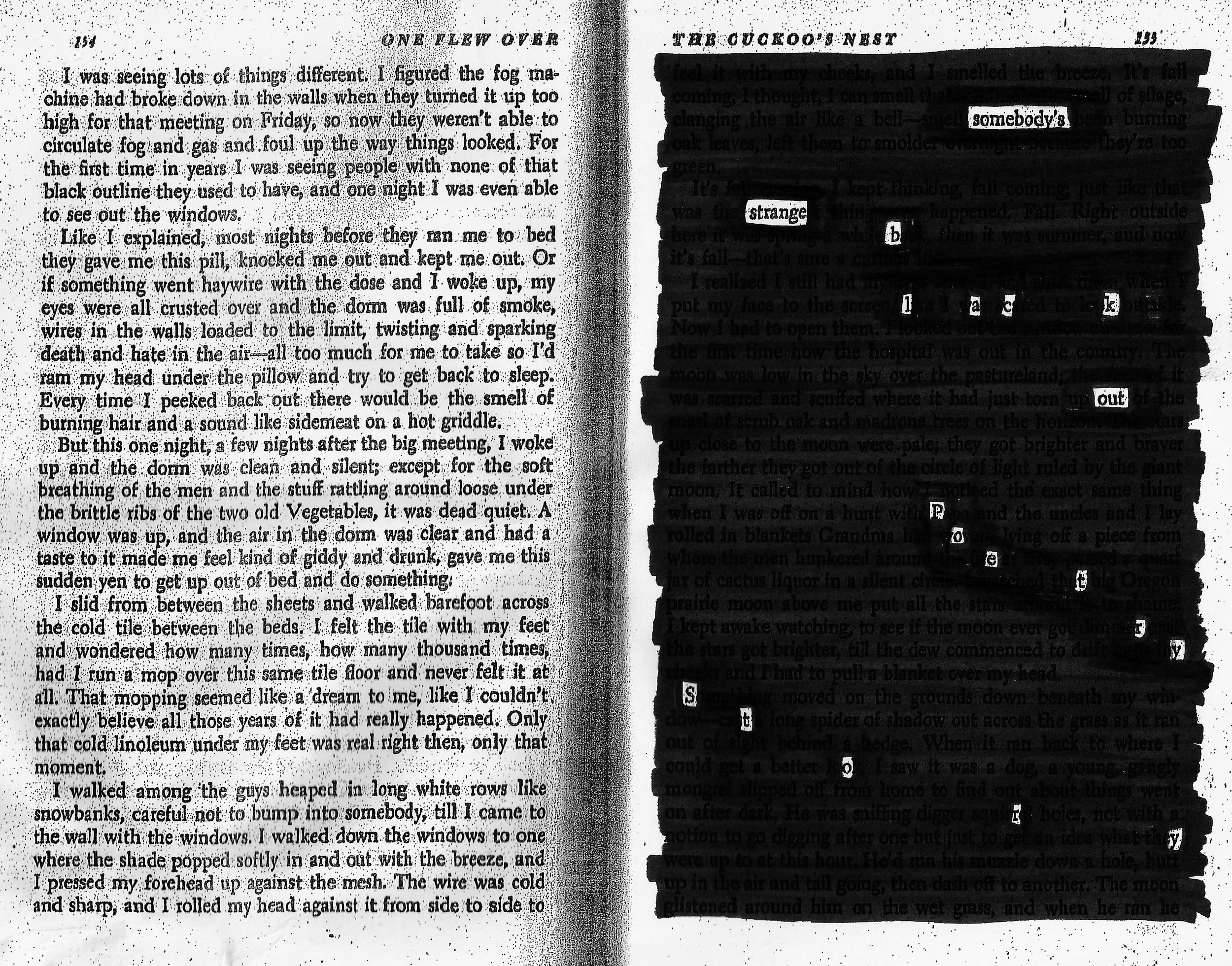 I distributed a spread from Ken Kesey's  One Flew Over the Cuckoo's Nest  to several people I met on the streets of New York and asked them to make blackout poems for me. I took two pictures of each person. The story is a collaborative effort between myself and the strangers who participated in the project.