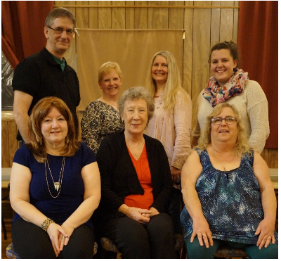 First row left to right - Crystal McCollom, Chair; Bridgit Ripley, Vice-Chair, Irish Language Officer Josie O'Connor, Public Relations Officer  Second Row - Pat McGuire, Past Chair; Eileen Kennedy, Auditor; Wanda Seeley, Secretary;Alex Caverson, Youth Officer  Missing -Jean Shuart, Treasurer
