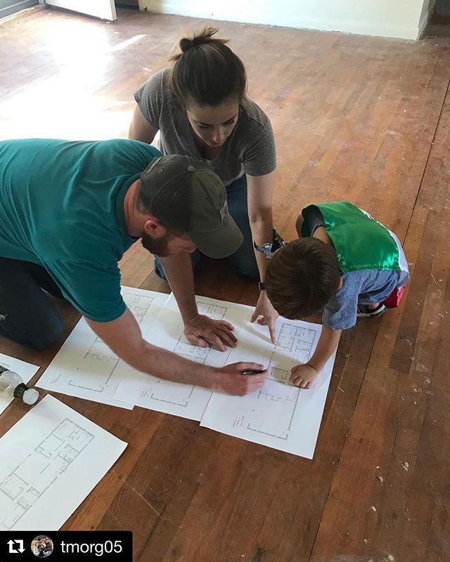 little nephew #rhettjerrick helping us tweak the plan on an upcoming project #blackshopbham . . . #architecture #design #details #floorplan #startthemyoung #helper #nephew #mexicanflagcape #operationflipanddip