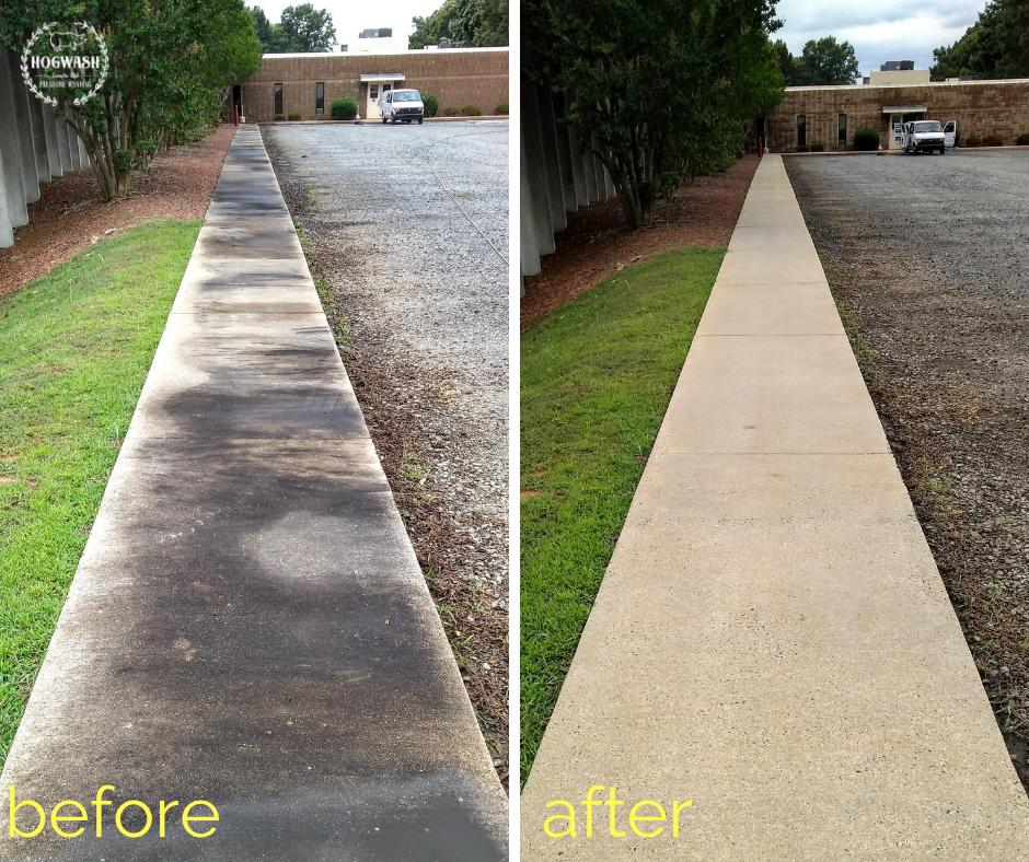 Concrete Cleaning - We pressure wash your driveway or walkways using a surface cleaner, which guarantees a streak free finish