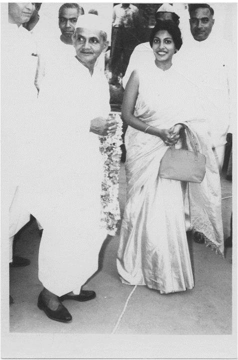 MS. SANTOSH LAL with the then prime minister of india, lal bahadur shastri