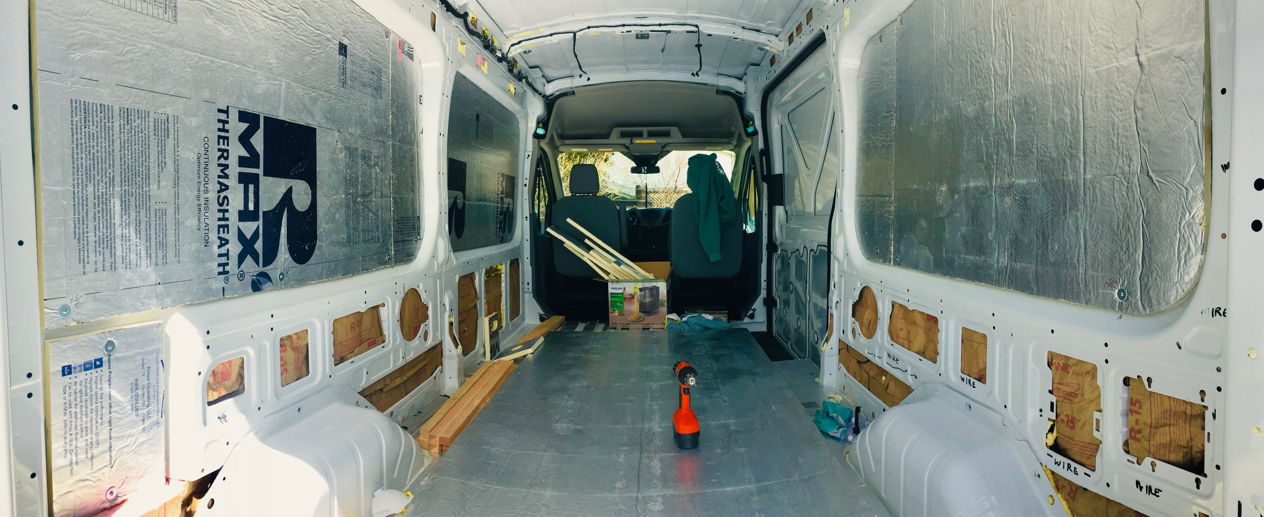 The interior is starting to look less like a cargo van