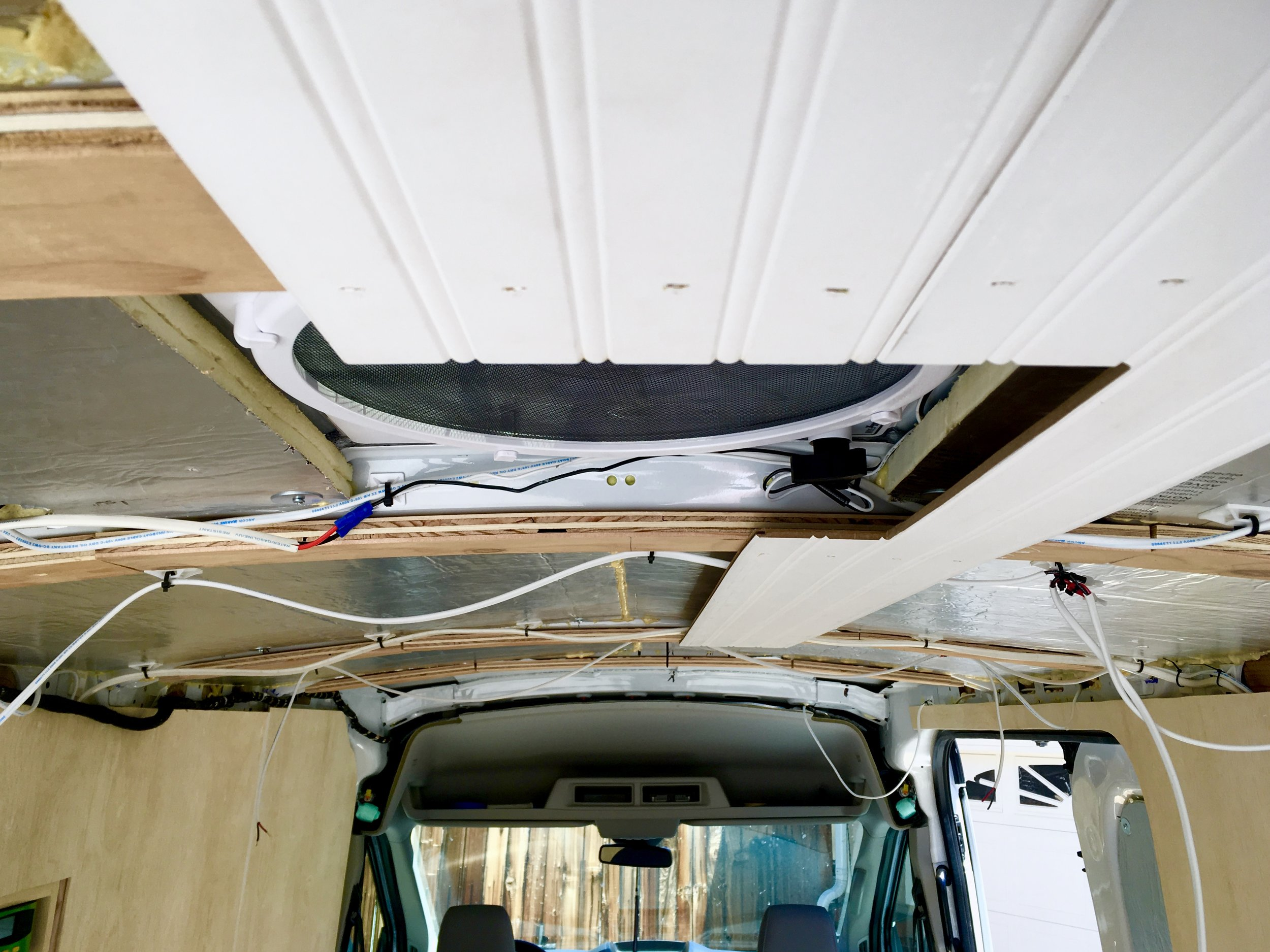 First few ceiling boards going in at the back of the van