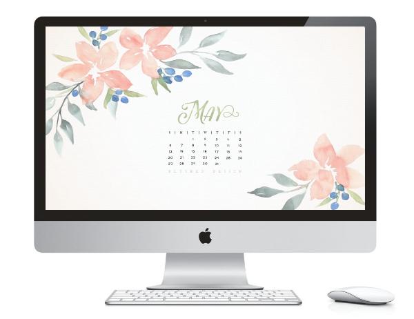 May 2016 desktop calendar.  Watercolor flower calendar design by Katrina of Blushed Design