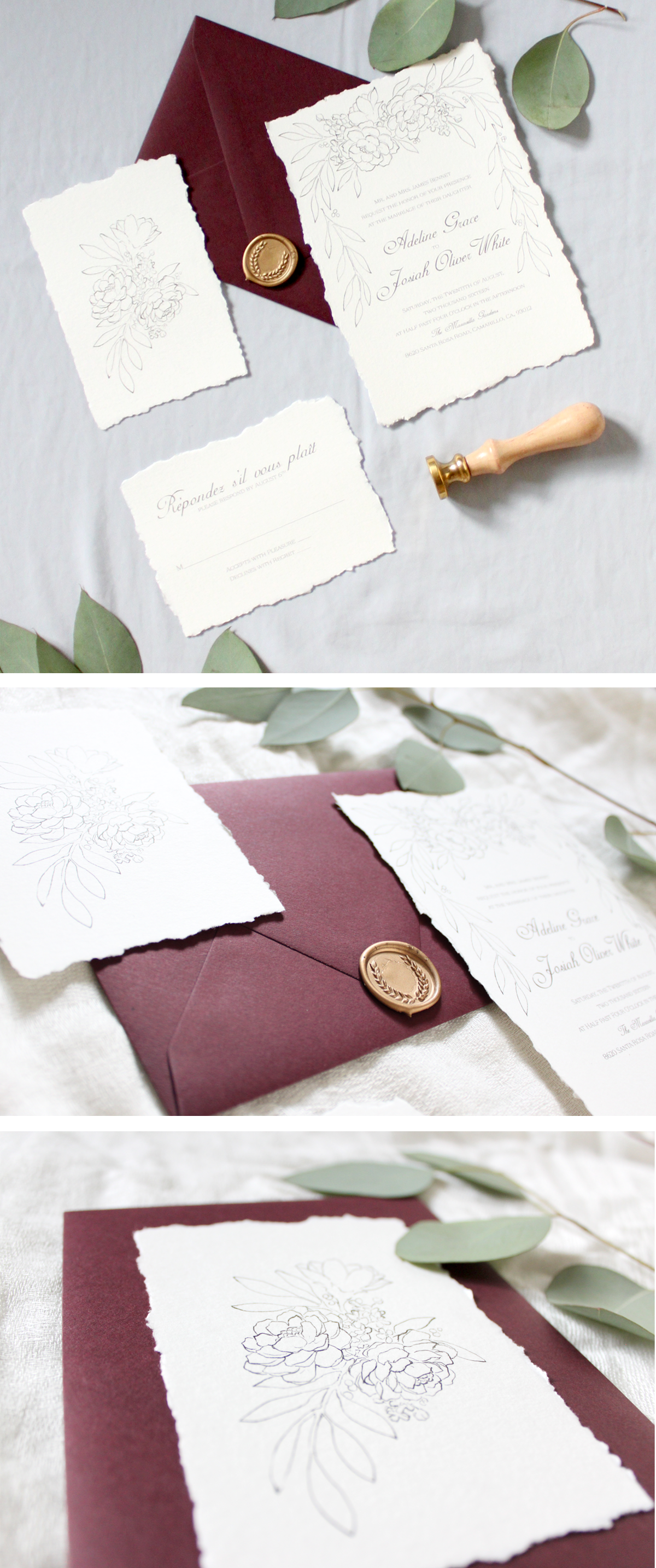 Burgandy Grecian Wedding Stationery