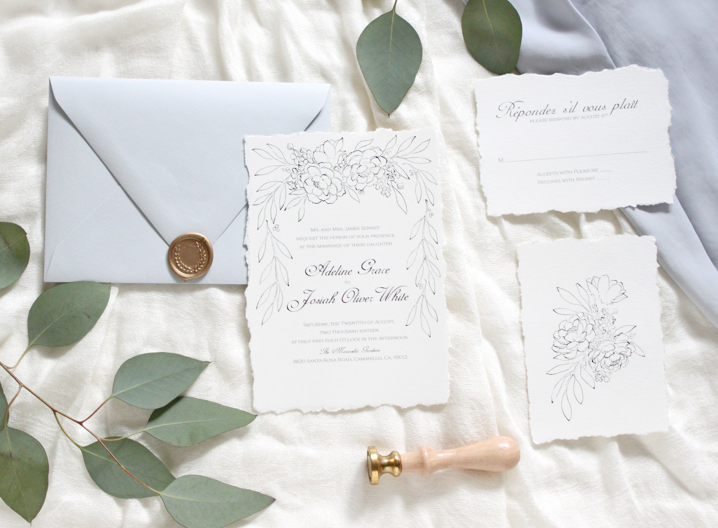 Blue Grecian Wedding Stationery