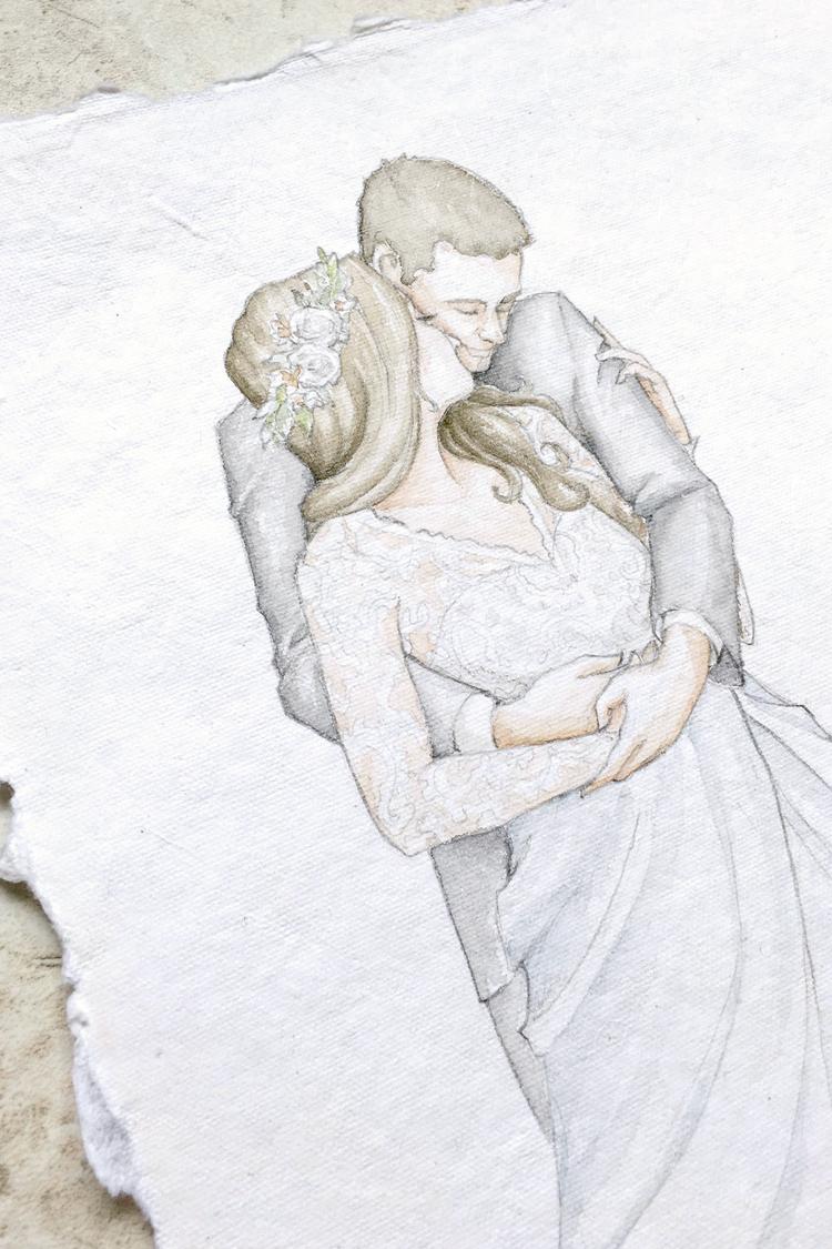Custom watercolor bridal portrait. Fine art bridal portrait on handmade paper. #customportrait #portraitillustration #blusheddesign