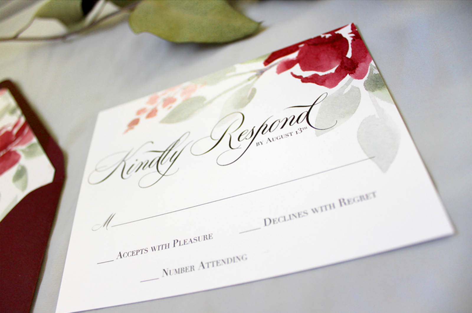 Watercolor response card for a grosse pointe war memorial wedding | Blushed Design, Wedding Invitations and Fine Art Portraits