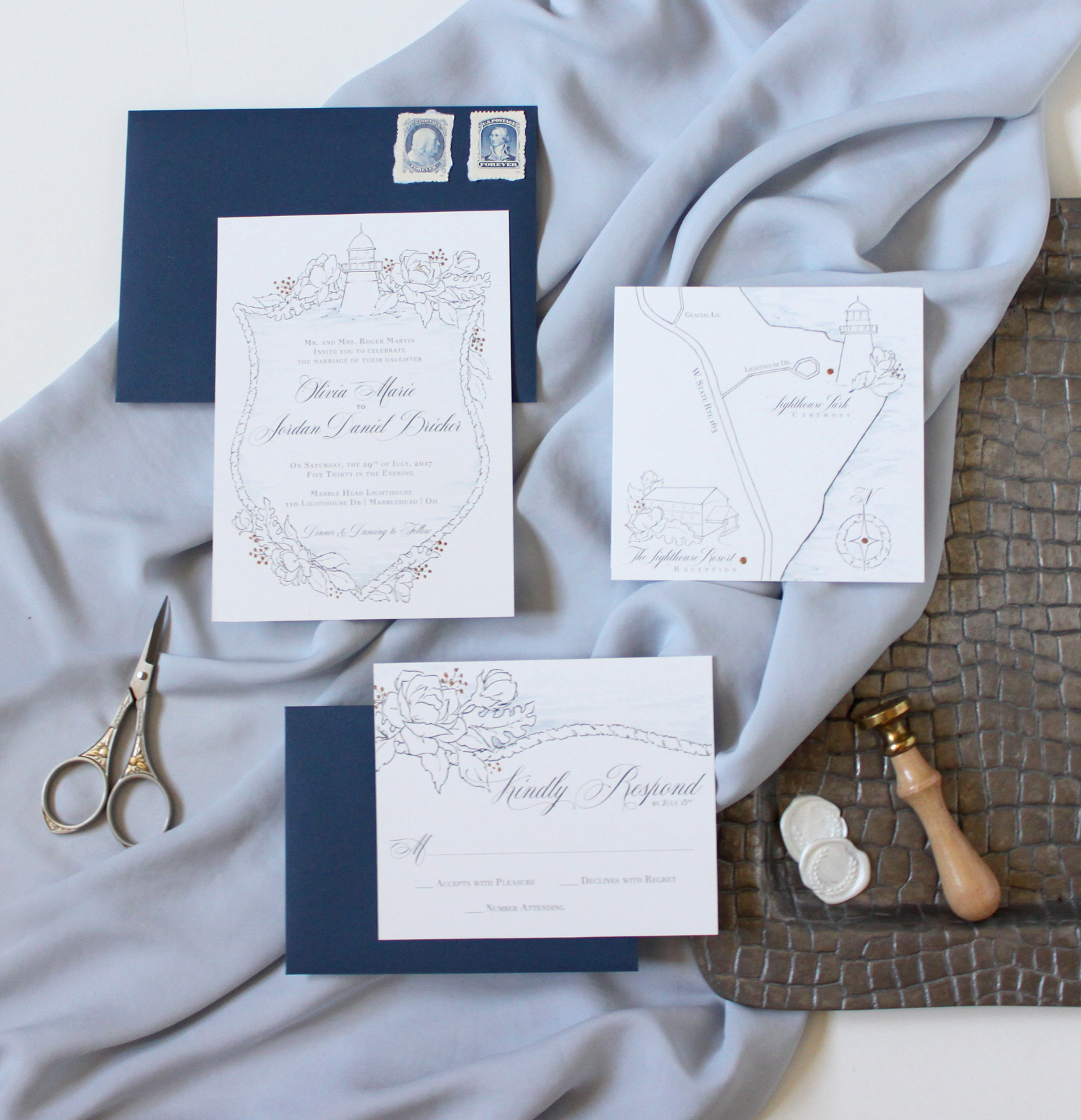 Nautical Wedding Invitations.  Crest inspired wedding invitations with a lighthouse at the top and a seaside map.  Designs by Blushed Design, Wedding Invitations and Fine Art Portraits