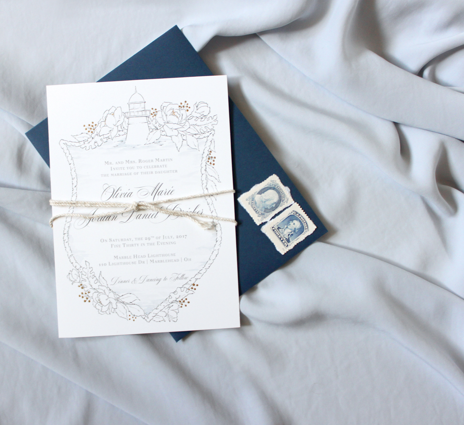 Marblehead Lighthouse Invitation.  Nautical wedding Invitations inspired by the Marblehead lighthouse off of Lake Erie for a wedding venue.  Blushed Design, Wedding Invitations and Fine Art Portraits