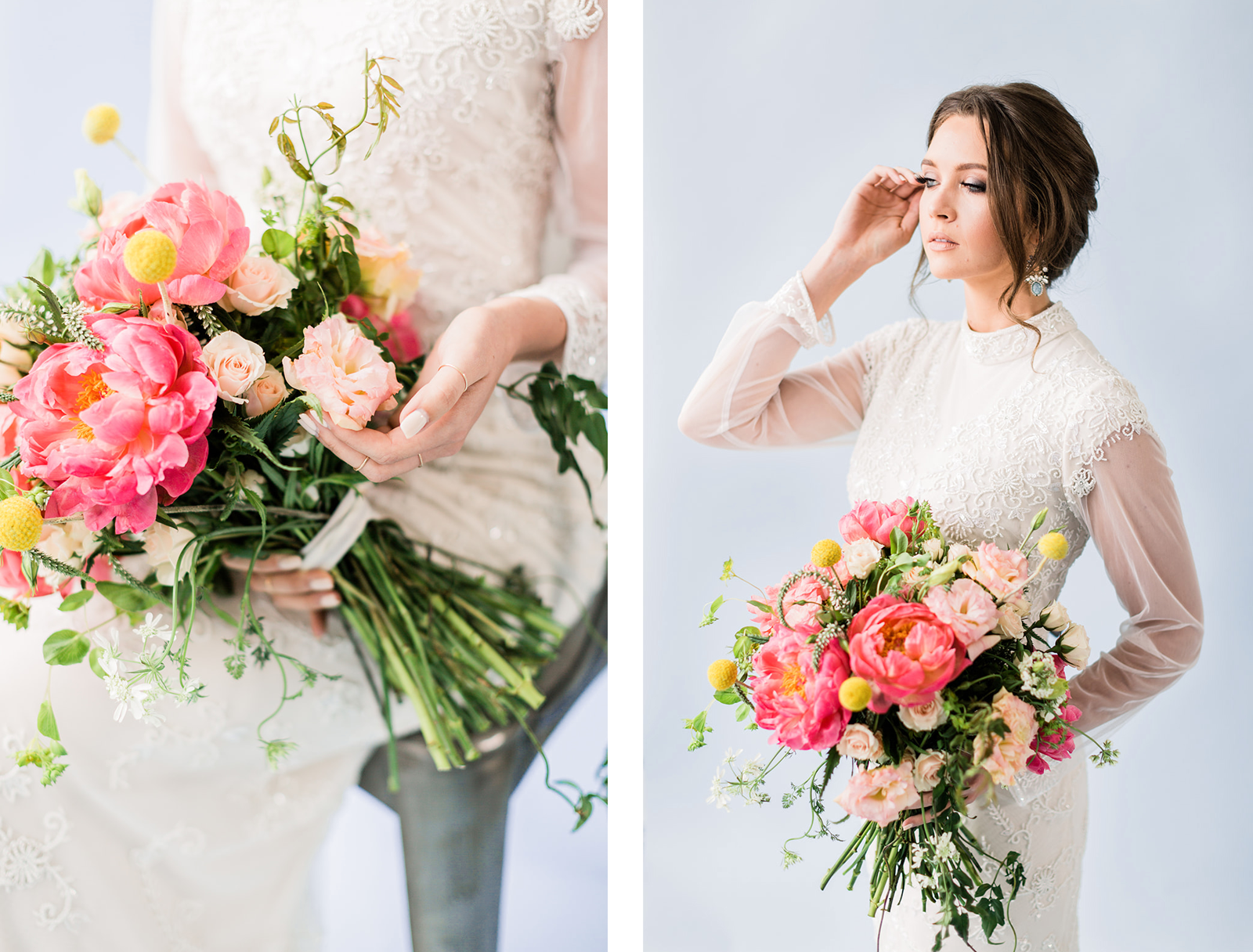 Editorial Bridal Inspiration - Bold florals and a vintage inspired gown in this editorial styled shoot.  Blushed Design: Wedding Invitations and Fine Art Portraits