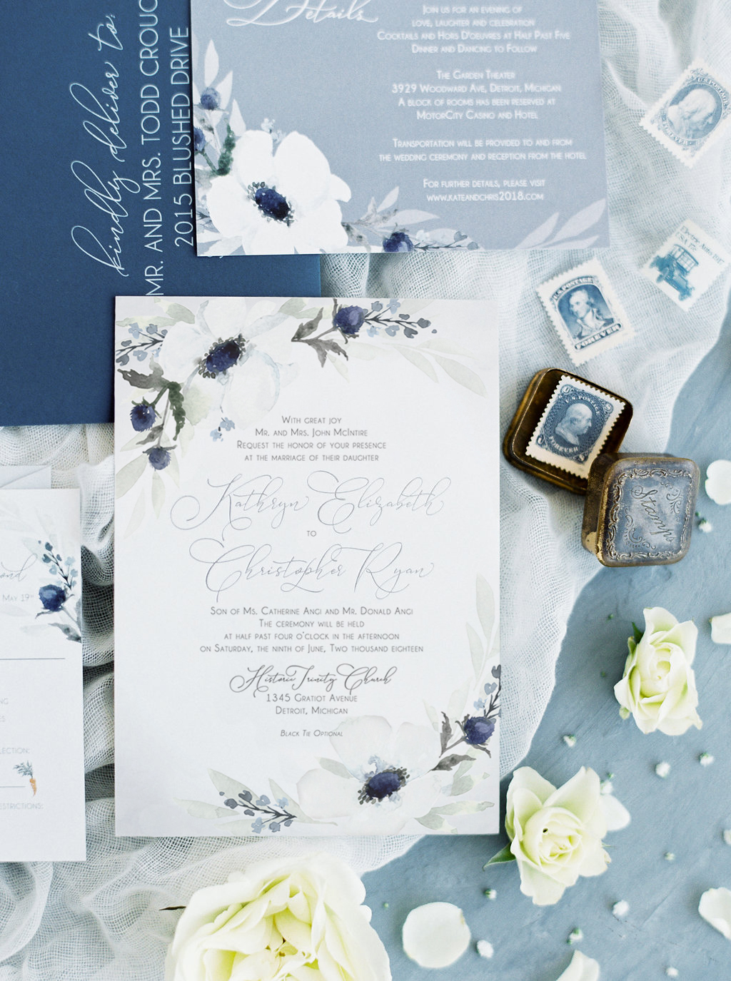 Anemone Wedding Invitations : Historic Trinity Church, Detroit Michigan Wedding Invitations. Anemone wedding invitations. Blue watercolor design by Blushed Design, Wedding Invitations and Fine Art Portraits  #blueweddinginvitations #watercolorweddinginvitations #bespokeweddinginvitations #michiganwedding #midwestwedding #anemoneweddinginvitations