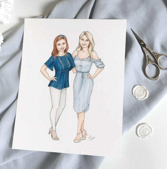 Custom illustrated portrait for midwest wedding planners, Ines and Marie.  Custom colored pencil illustration by Blushed Design, Wedding invitations and Fine art portraits