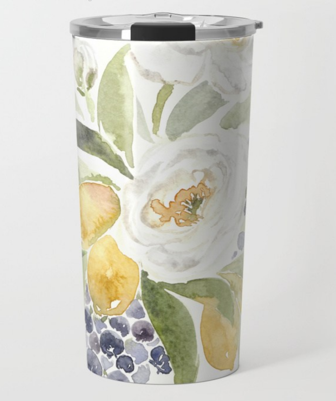 watercolor flower travel mug with white ranuculous, lemons and blueberries.  The perfect summer travel mug