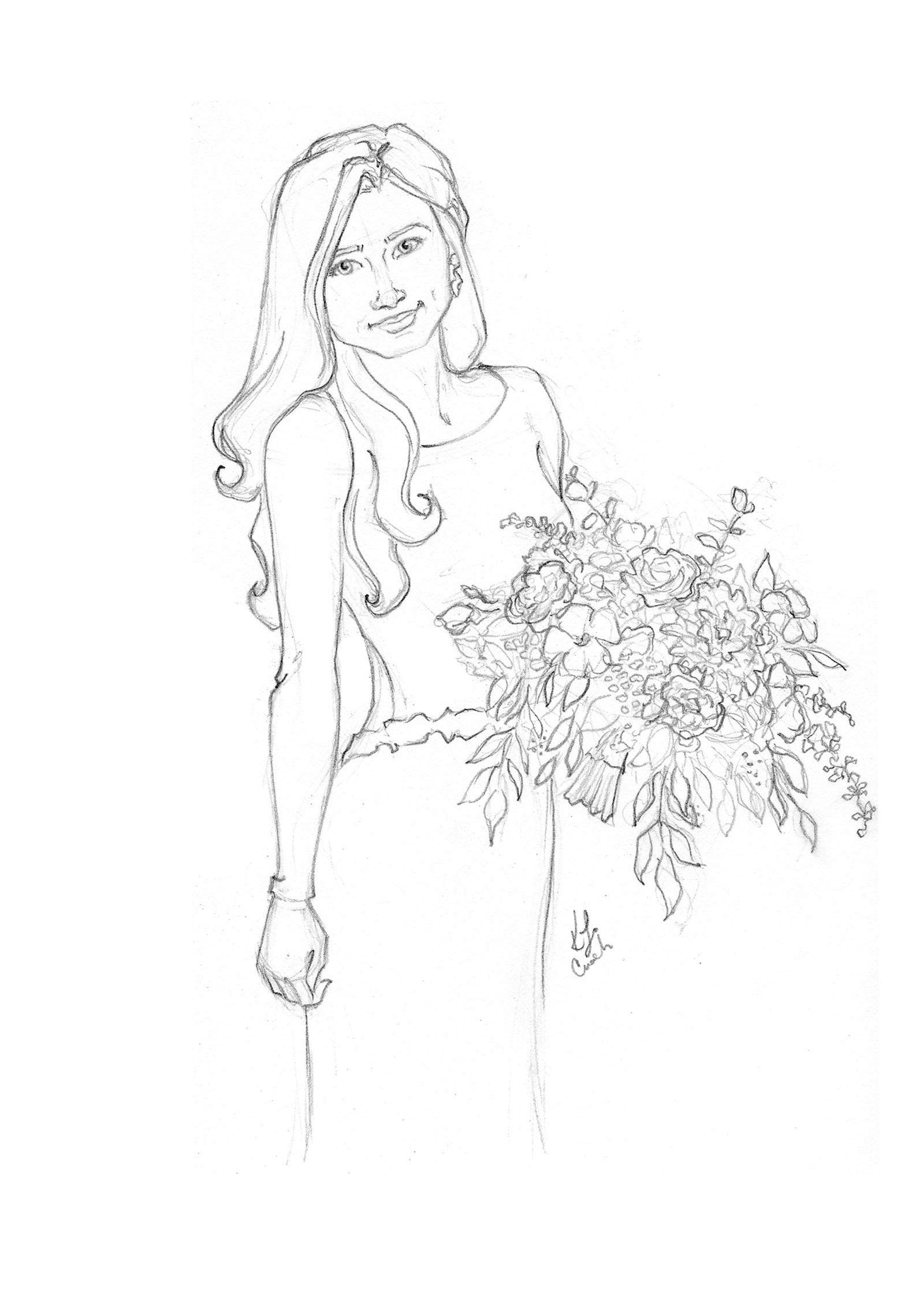 Custom bridal portrait sketch. Fine art bridal portrait for a unique anniversary gift. #customportrait #portraitillustration #blusheddesign #portraitsketch