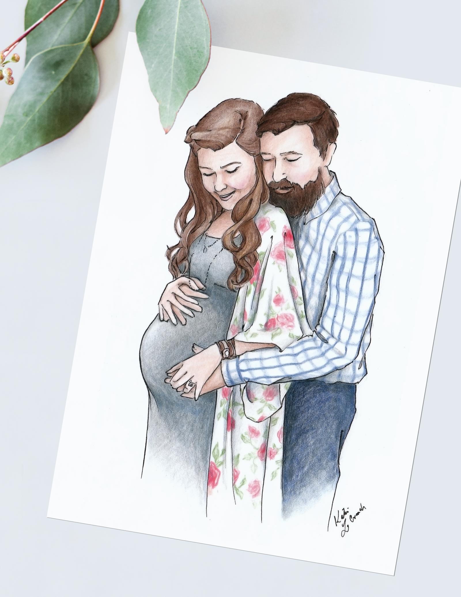 Custom watercolor family portrait. Unique maternity portrait in watercolor. #customportrait #portraitillustration #blusheddesign #watercolorportrait