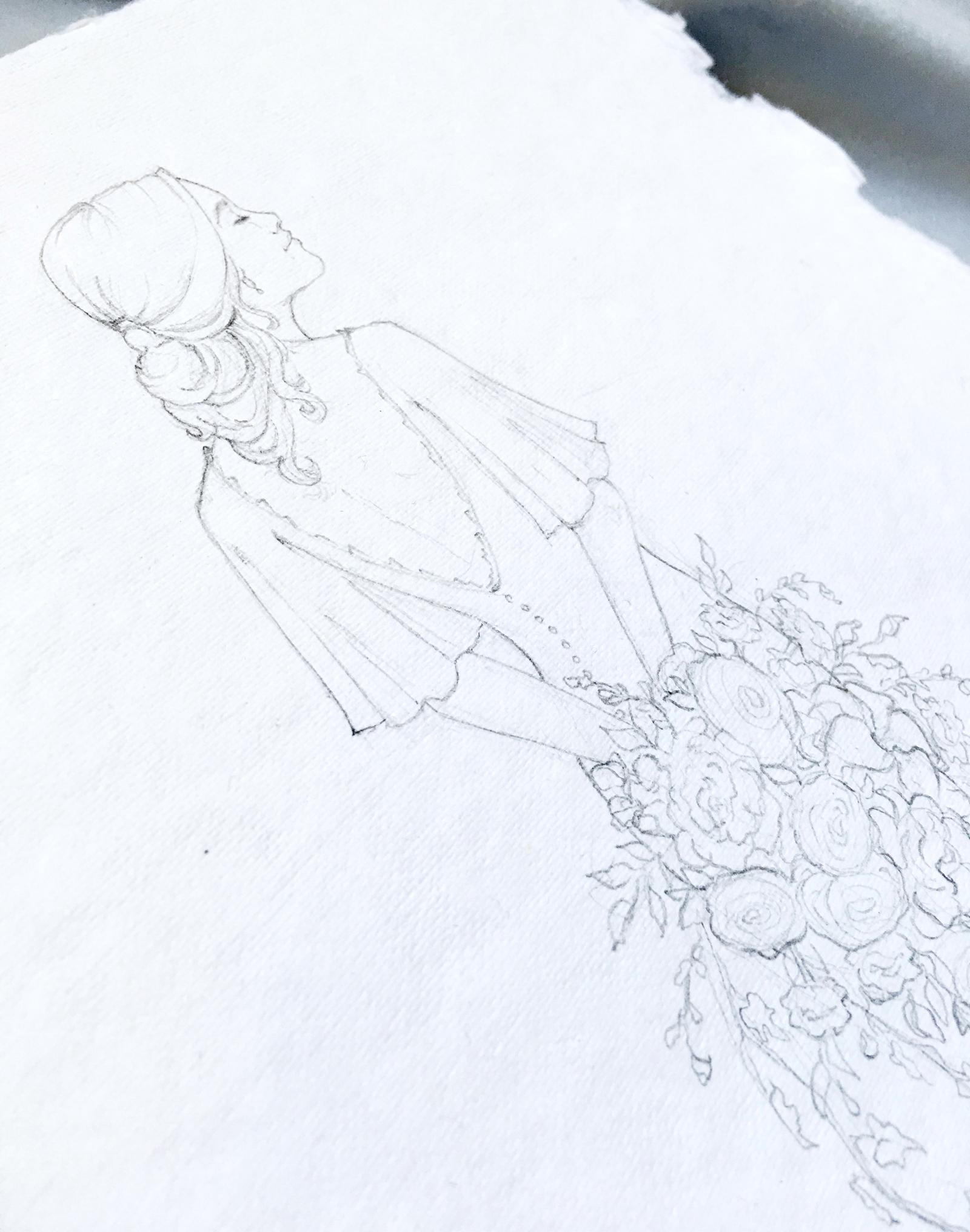 Custom bridal portrait sketch. Fine art bridal portrait on handmade paper. #customportrait #portraitillustration #blusheddesign
