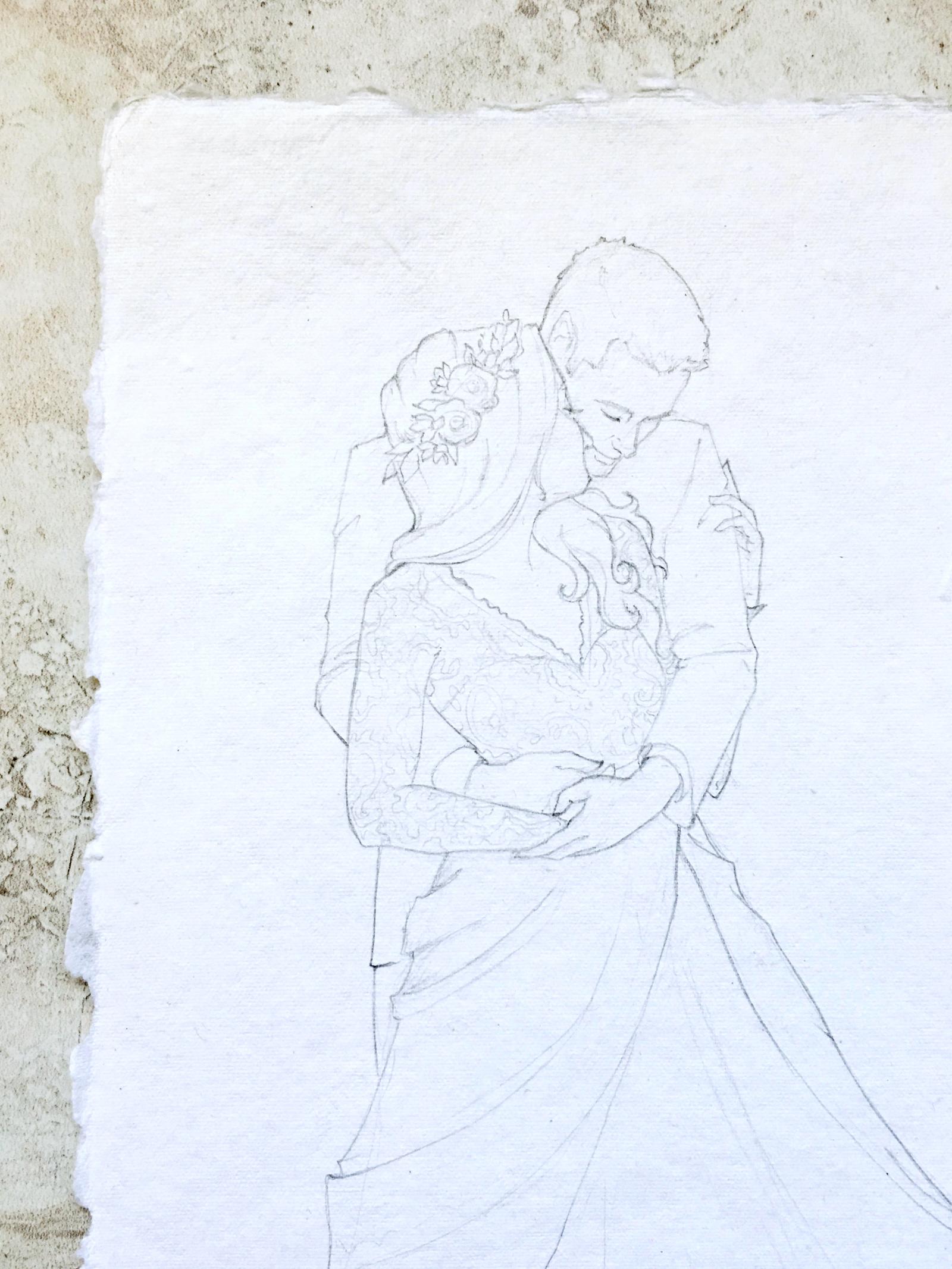 Custom bridal portrait sketch. Fine art bridal portrait on handmade paper. #customportrait #portraitillustration #blusheddesign #portraitsketch