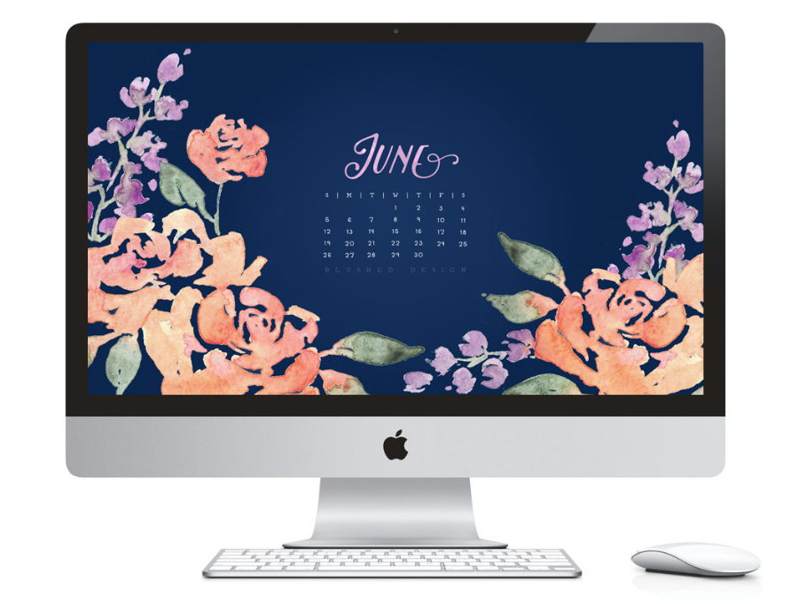 June 2016 desktop calendar.  Watercolor flower calendar design by Katrina of Blushed Design