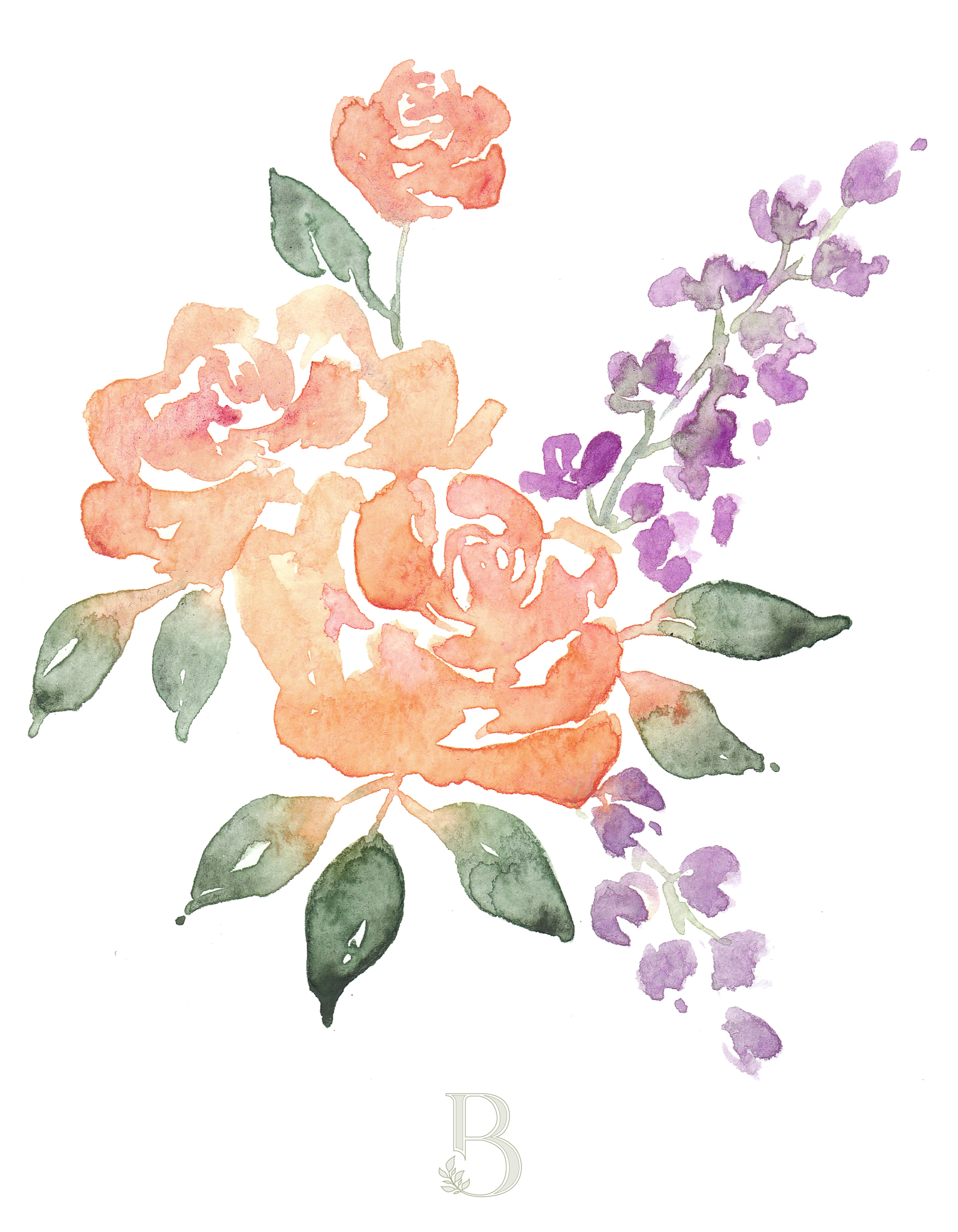 Loose watercolor flowers by Blushed Design.  It's not summer for me until there's a big bouquet of peonies on the table!  So I had to paint a few of them here for you :) #watercolorflowers #watercolor #loosewatercolors