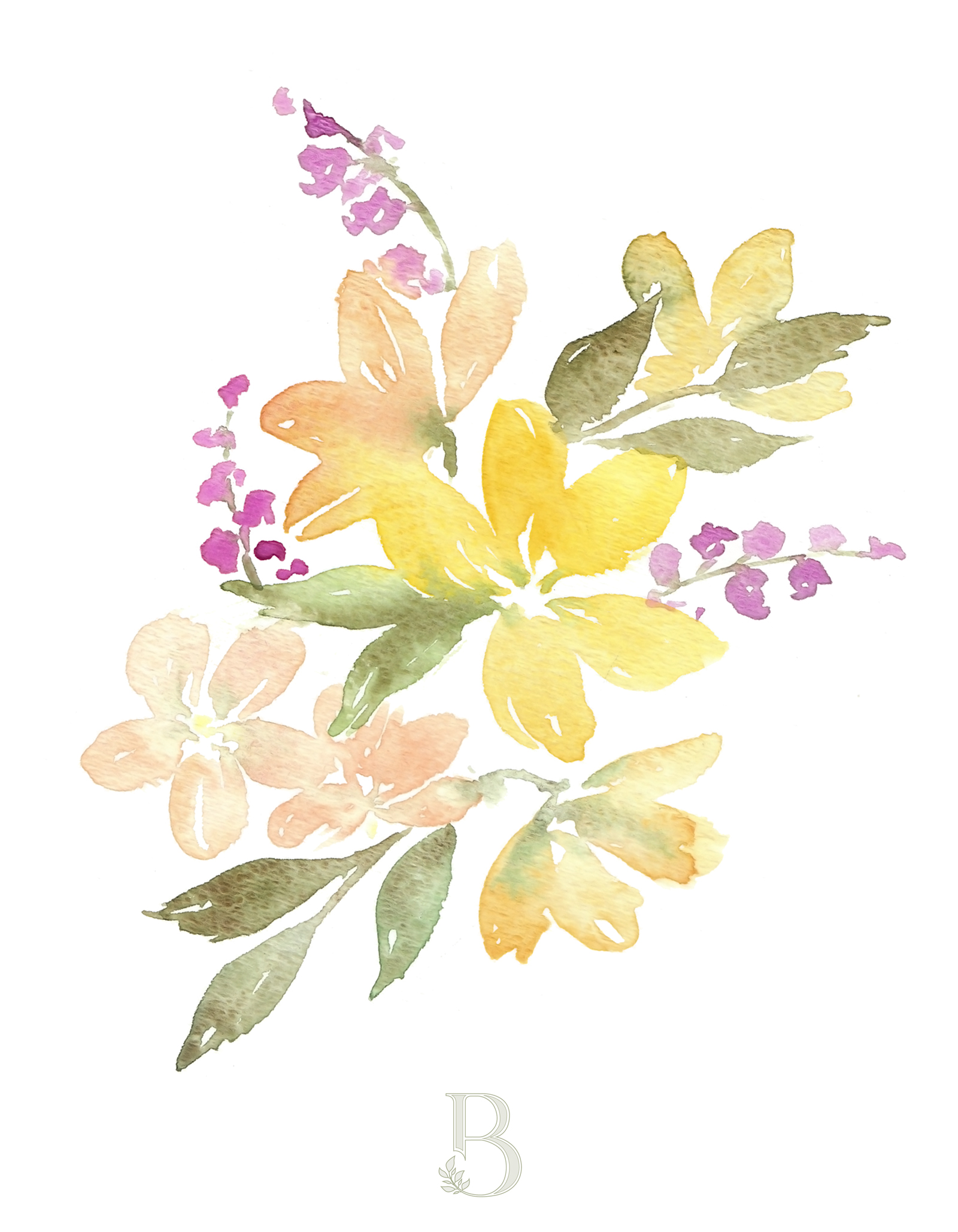 Loose watercolor flowers by Blushed Design.  It's not summer for me until there's a big bouquet of flowers on the table!  So I had to paint a few of them here for you :) #watercolorflowers #watercolor #loosewatercolors
