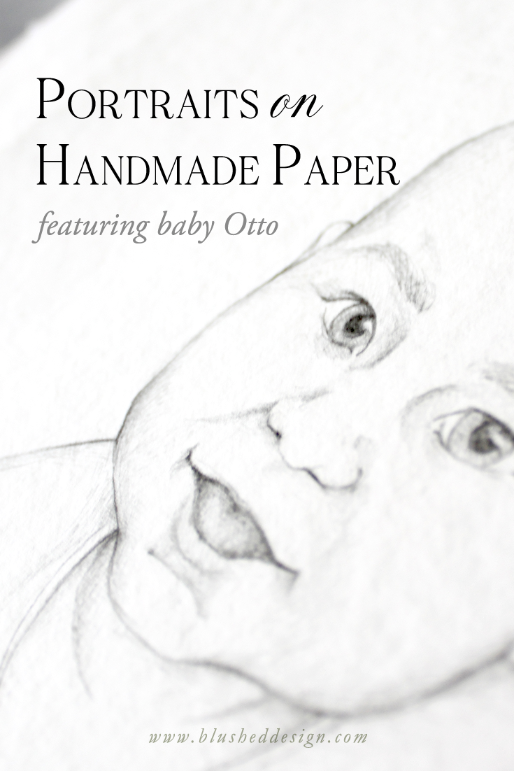 These beautiful hand illustrated portraits on handmade paper are truely a unique and special gift.  Illustrated in graphite pencil on handmade cotton rag paper by Katrina of Blushed Design: Fine art inspired design with a fresh twist #portraitillustration #babyportrait #handmadepaper