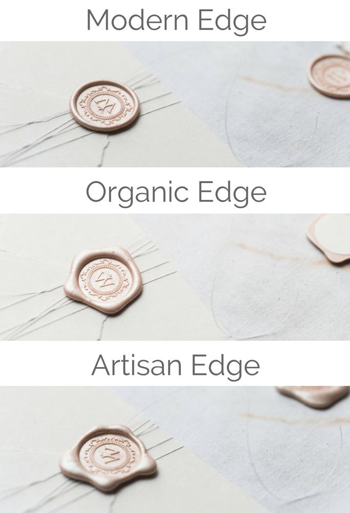 Which wax seal edge will you choose? The regular, satisfying modern edge? The organic edge, or the messier, artisan edge?  #waxseals #selfadhesivewaxseal #waxseal