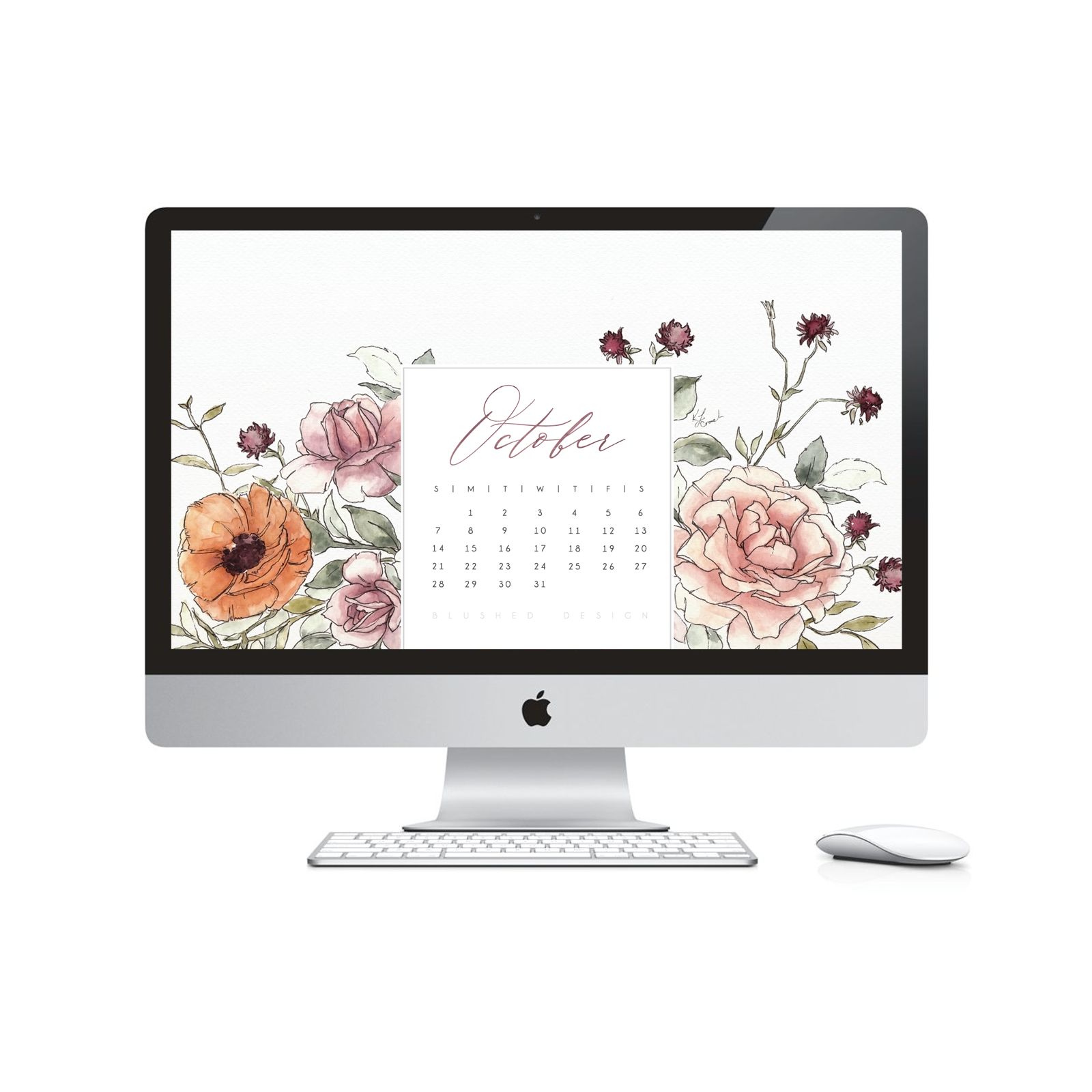 Watch my watercolor flower video tutorial for how I created the artwork for this month's desktop calendar!  Which is also avaialble as a FREE download #watercolorflowers #watercolortutorial #fallwatercolorflowers