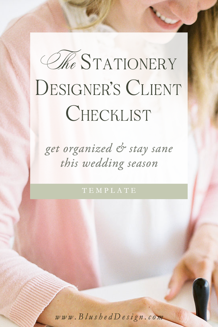 The wedding stationery designer's Client Checklist is my secret to successful CRM (Customer Relationship Management)!  This two page, printable checklist helps me to keep track of all of the details for my Brides—from details about the primairy contact to a reminder to send an Anniversary email!  It's all here, and you can have it too.  www.blushedDesign.com #weddingstationerydesigner #weddingdesigner #weddingbusinessowner