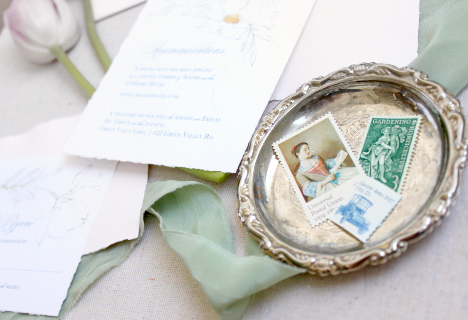 Vintage postage.  While it can be a beautiful addition to your wedding invitations, the cost, availability and stress may make you reconsider chosing to incude it!  More on the blog: www.blusheddesign.com