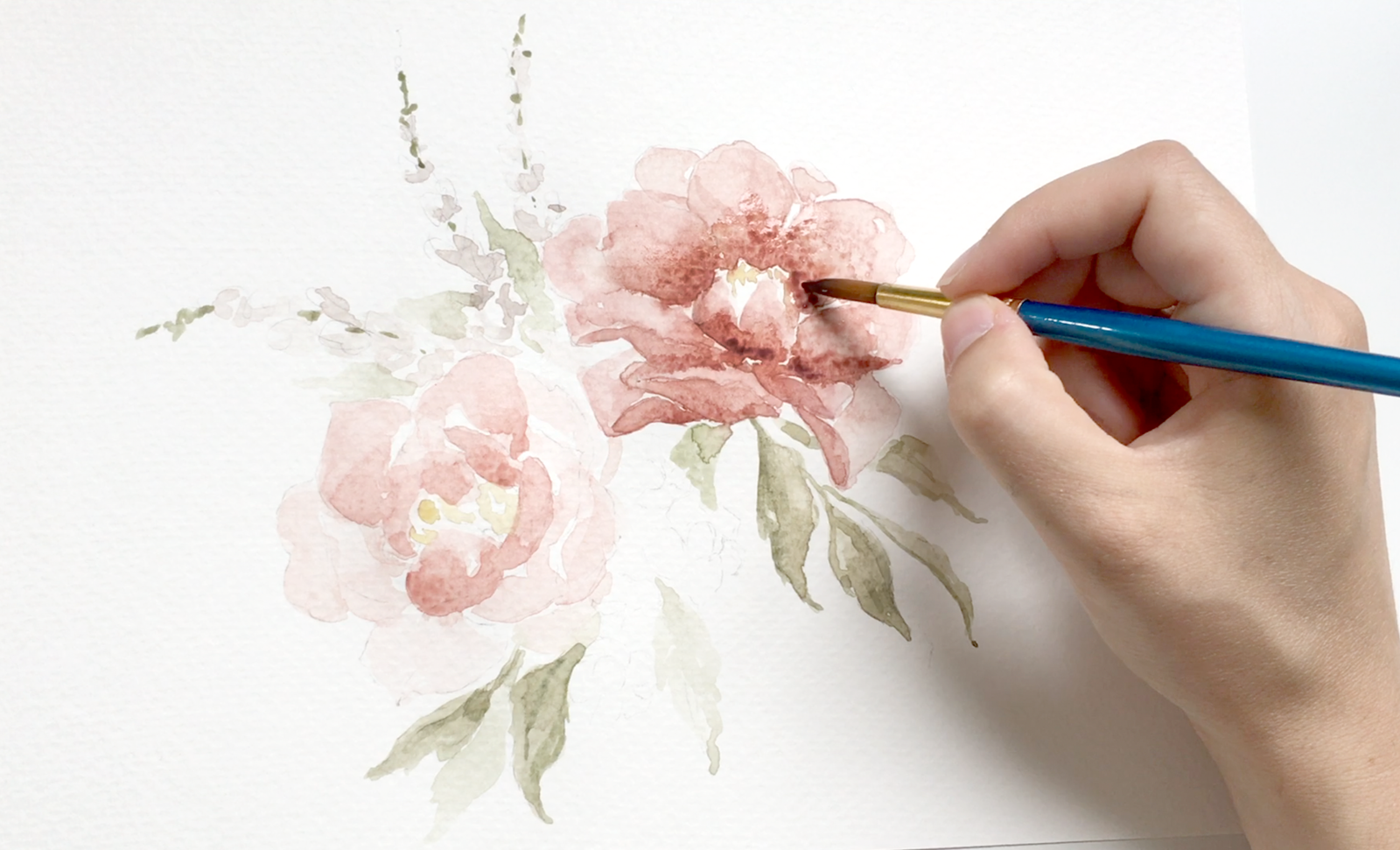 Video Tutorials For Flower Drawing And Watercolor Blushed Design