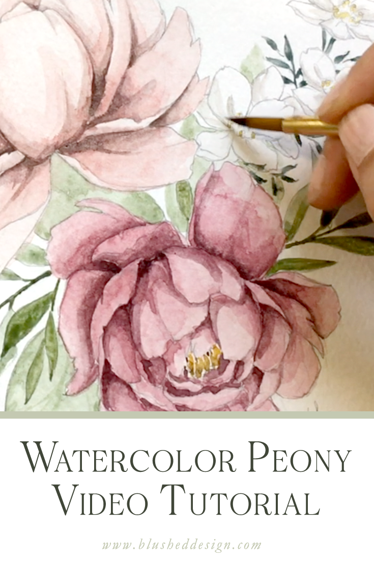 Watercolor peony tutorial!  Come behind the scenes with me while I paint these beautiful peonies in watercolor.  I'm sharing my favorite blending technique and some tips for adding depth to your watercolor paintings. #watercolortutorial #watercolorflowers #watercolorpeonies