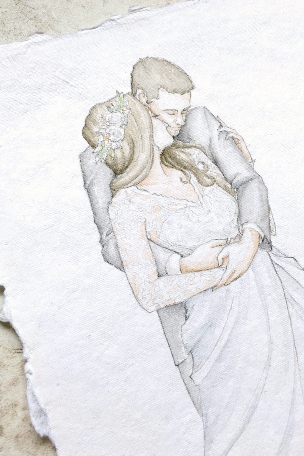 Fine art portraits are being discontinued from Blushed Design! Available exclusively for Blushed Brides as a first anniversary gift or in addition to their wedding invitation suite.  Watercolor bridal portraits may return in the future to Blushed Design. #watercolorportraits #bridalportrait #fineartwedding