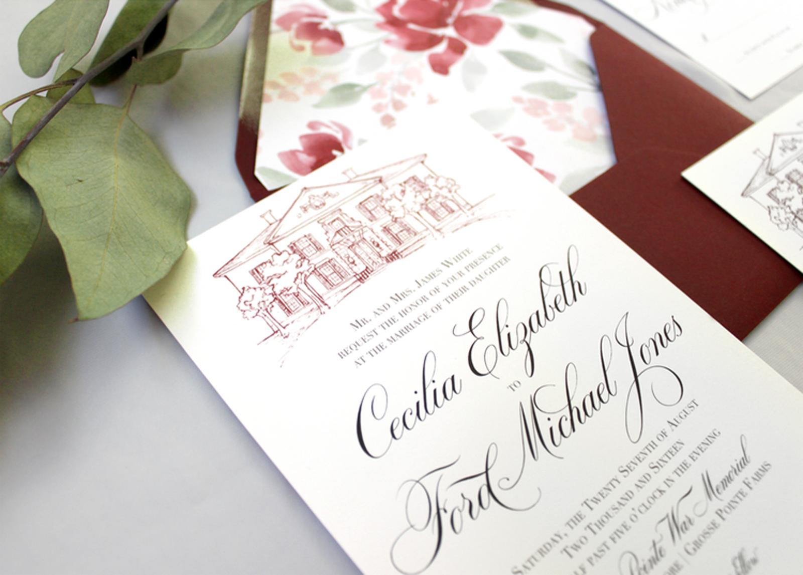 Grosse Pointe War Memorial wedding inspiration.  Beautiful, historic wedding invitations featuring a venue illustration of the War Memorial of Grosse Pointe Michigan.  Such a beautiful and classy way to set your invitations apart and show off your unique venue and style! #michiganwedding #grossepointwarmemorial #grossepointewedding #weddinginvitations #fineartwedding