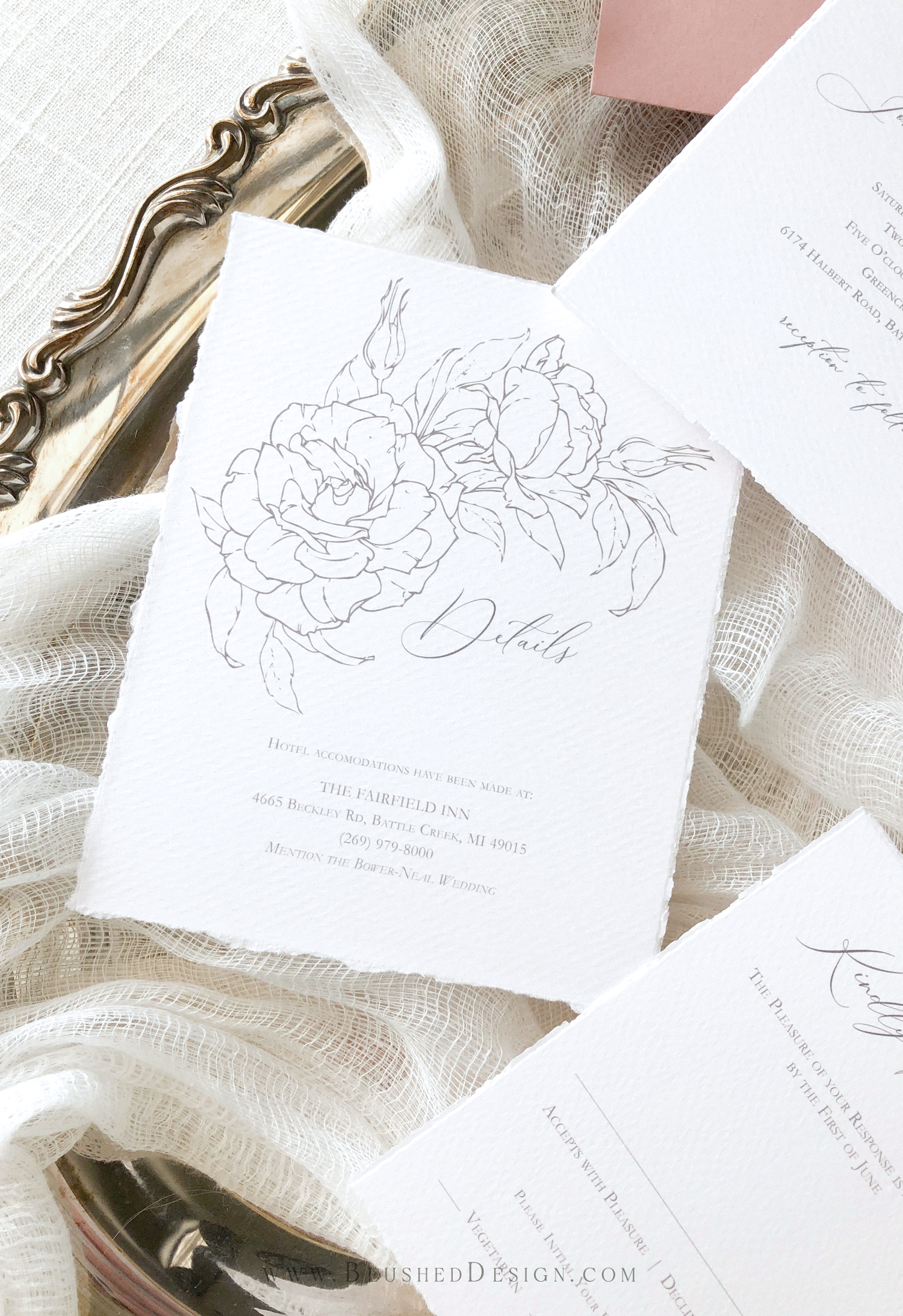 Romantic wedding invitations for the fine art bride.  These wedding invitations are the perfect mix of romantic feminity and clean sophistication.  The star of the show is definitely the floral illustrations, but the beautiful modern calligraphy and handmade paper come in a close second! #fineartwedding #romanticwedding #whimsicalwedding #weddinginvitations #elegantweddinginvitations