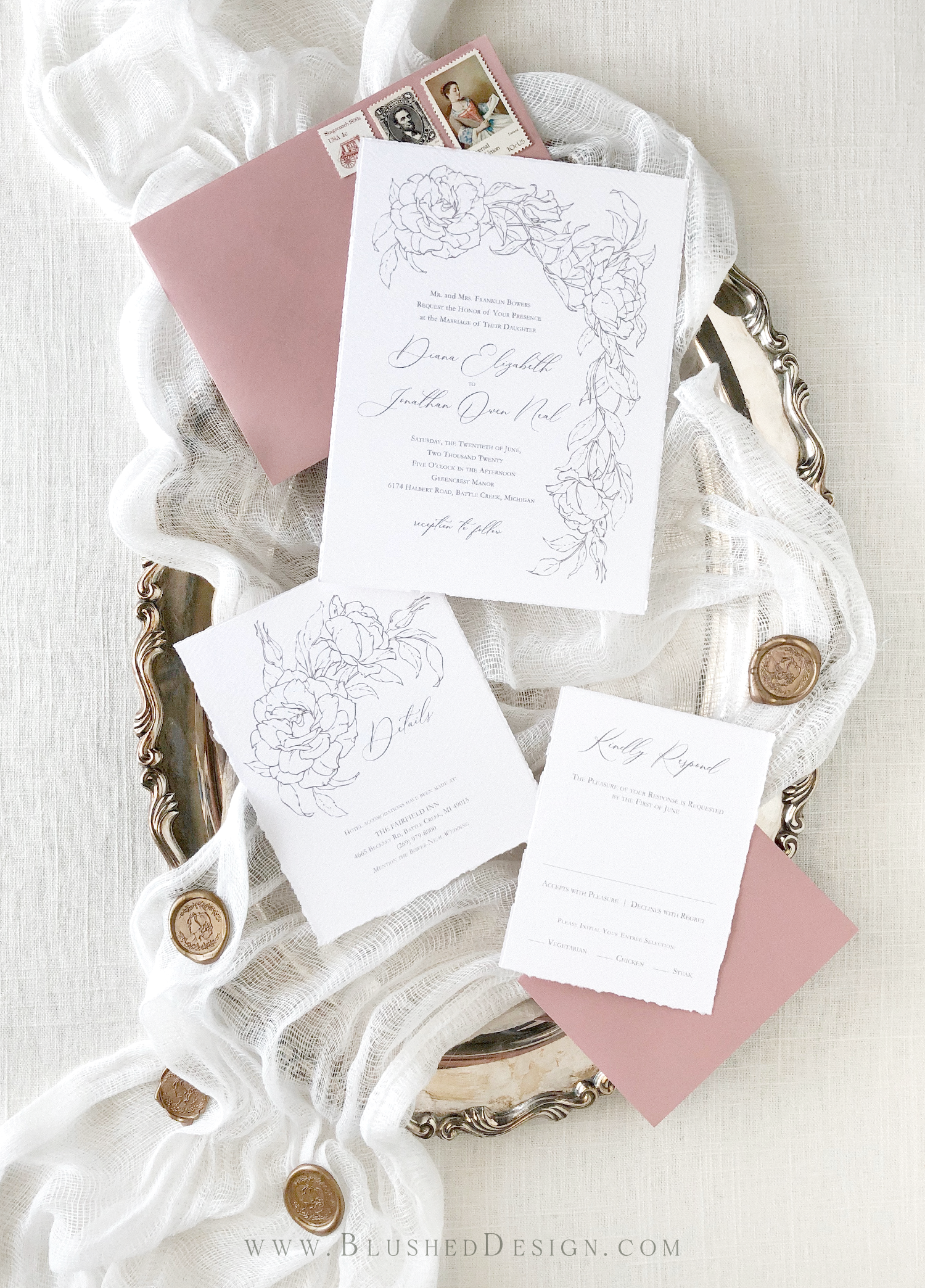 Elegant wedding invitations with a soft botanical illustration and elegant calligraphy.  Fine art wedding invitations by Blushed Design from the Editorial Collection—romantic and elegant wedding invitations for the fine art bride #fineartwedding #blushedDesign #romanticwedding #elegantweddinginvitations