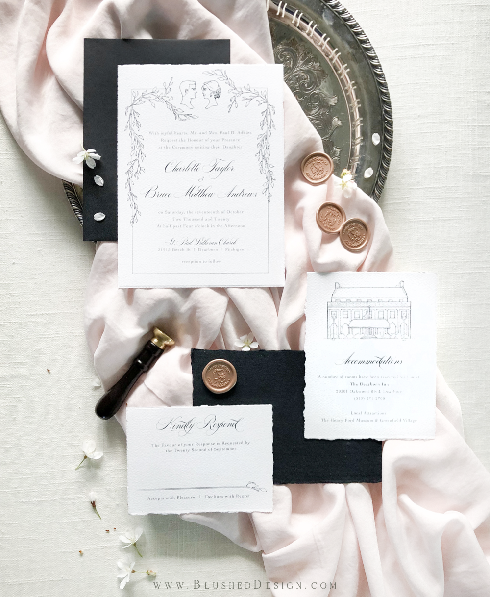 Elegant wedding invtations with stately calligraphy, elegant illustrations and a unique portrait for this elegant wedding.  Black envelopes set the state apart and allow the wax seals for this elegant invitation suite to really pop. #elegantwedding #estatewedding #romanticweddinginvitations #luxurywedding