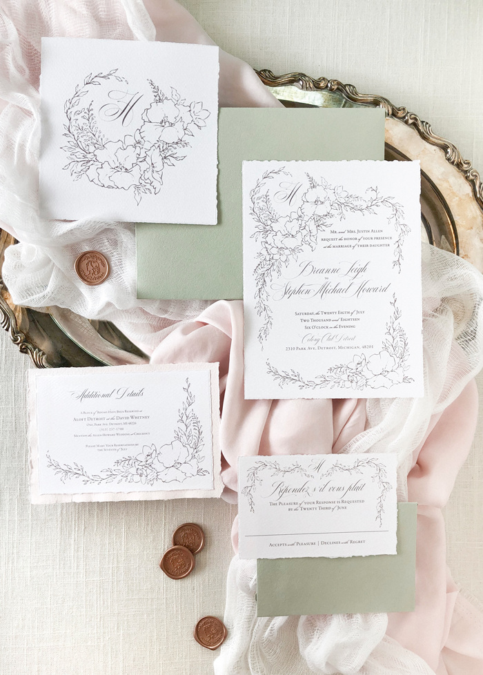 Storybook wedding invitations with a soft botanical illustration and elegant calligraphy.  Fine art wedding invitations by Blushed Design from the Editorial Collection—romantic, fairytale wedding invitations for the fine art bride #fineartwedding #blushedDesign #romanticwedding #elegantweddinginvitations #storybookwedding